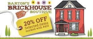 Barton's Brickhouse Boutique 20% off selected items