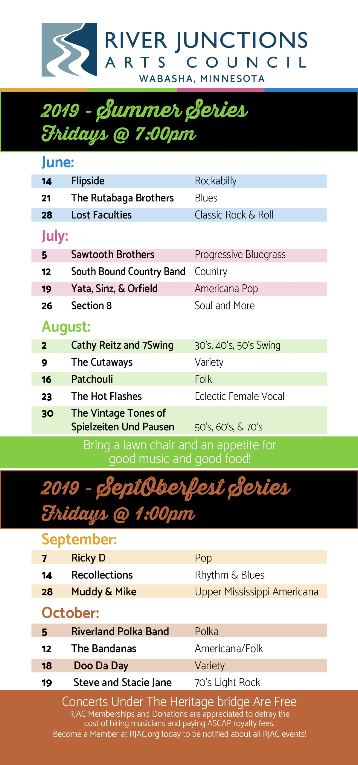 River Junctions Arts Council 2019 Free Concert Series