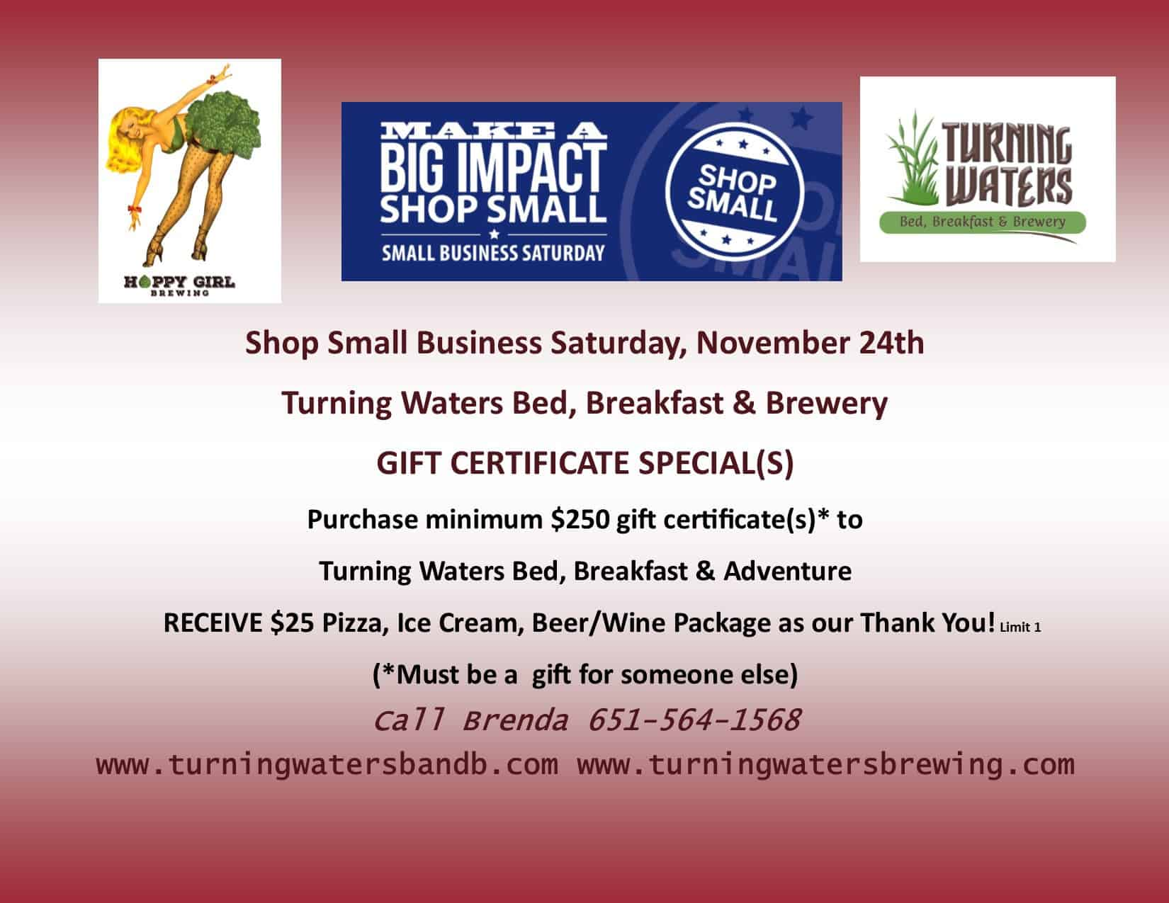 Turning Waters Small Business Saturday Certificate Specials