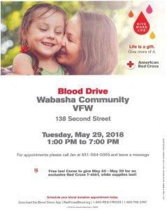 Blood Drive - American Red Cross @ Wabasha Community VFW   Wabasha   Minnesota   United States