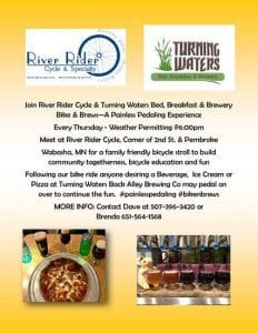 Bikes & Brews – a Painless Pedaling Experience @ Turning Waters Bed, Breakfast, & Brewery
