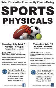 Sports Physicals @ Saint Elizabeth's Community Clinic | Wabasha | Minnesota | United States
